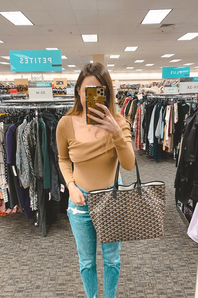 privacy please florence bodysuit with agolde jeans and goyard bag