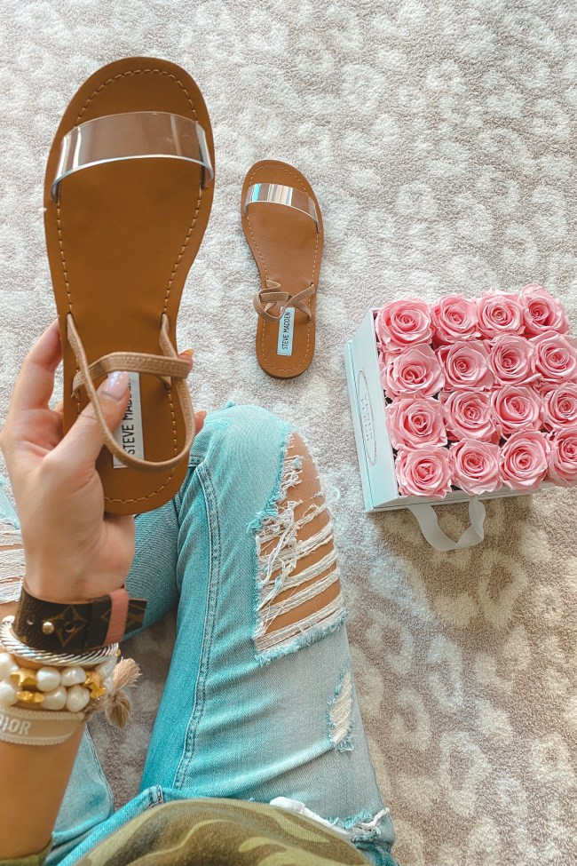 steve madden instant clear sandals with roses