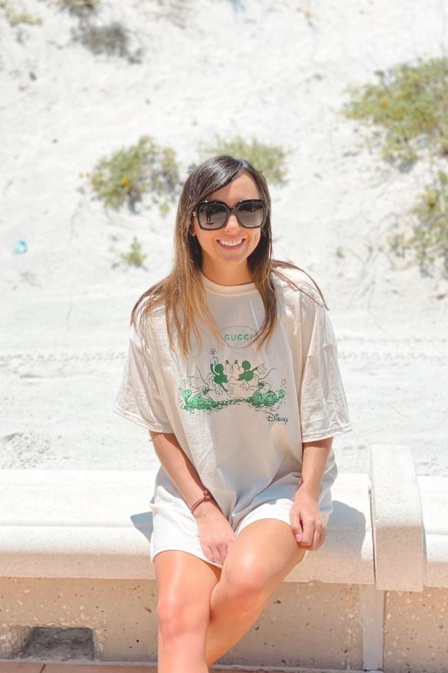 gucci miney mickey disney tshirt dress at beach