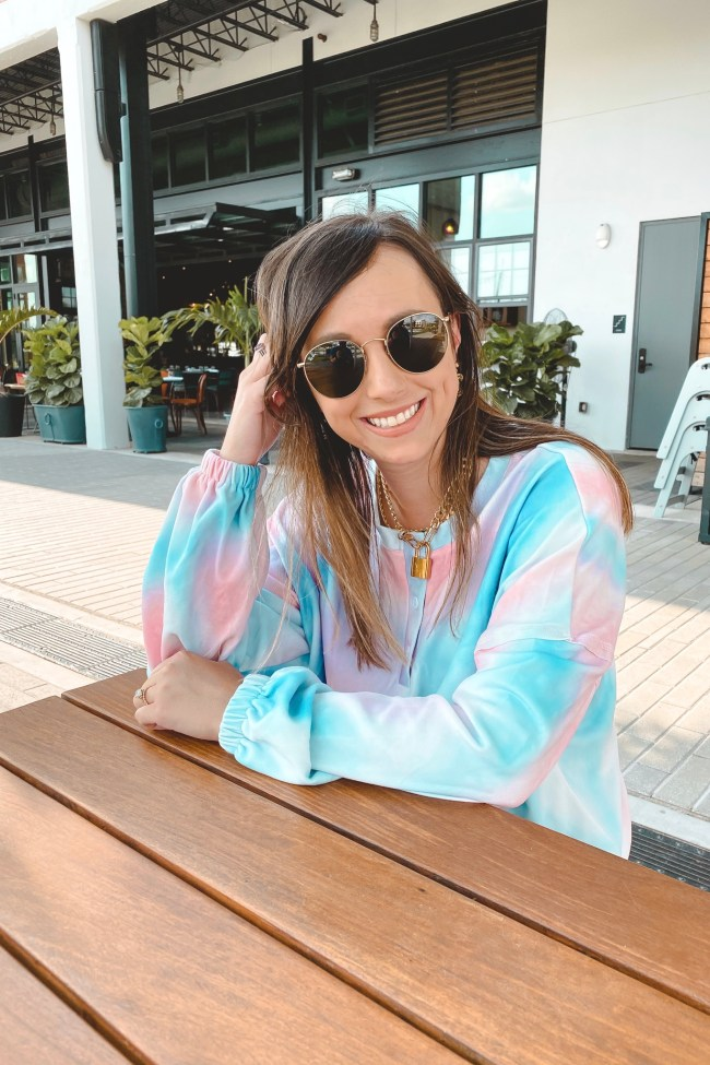 amazon tie dye set with louis vuitton lock necklace and rayban icons