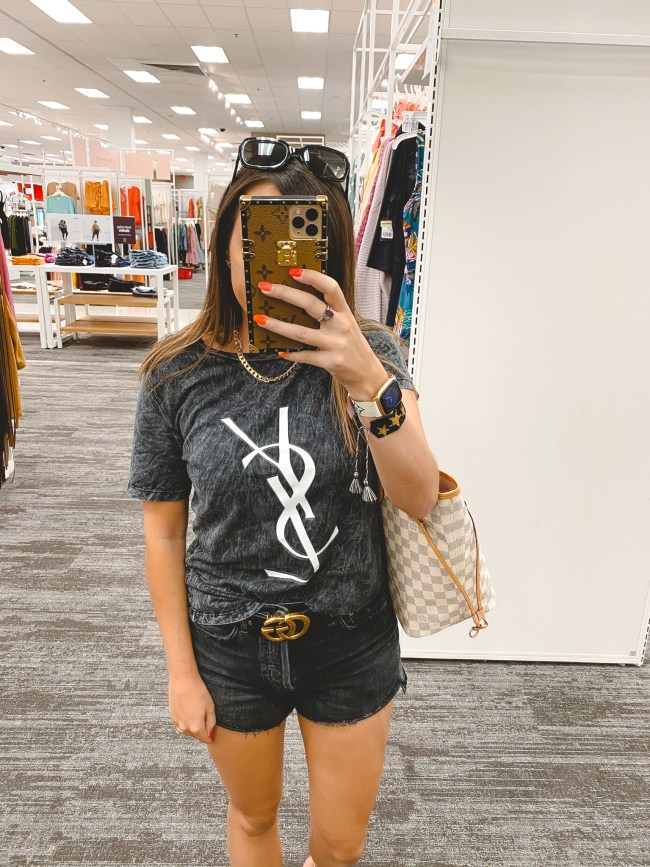 ysl dupe tee with agold black denim shorts and louis vuitton neverfull