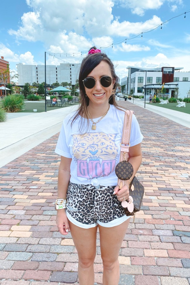 gucci tiger tee with leopard shorts and louis vuitton multi pochette