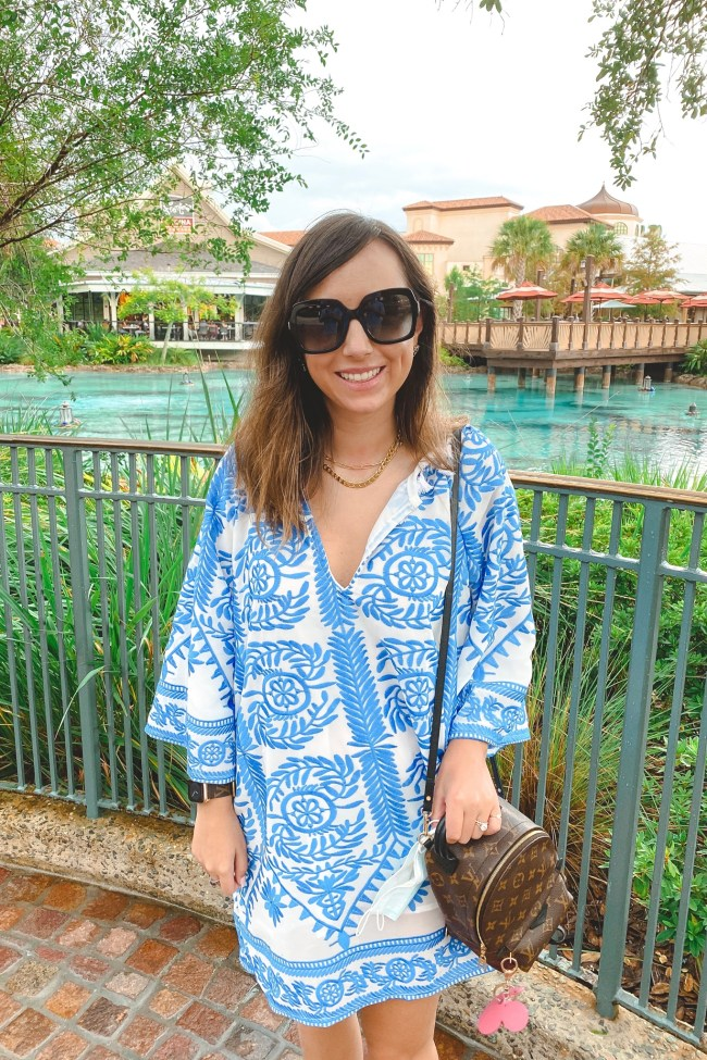 August outfit ideas chicwish blue boho dress with louis vuitton palm springs mini at disney springs