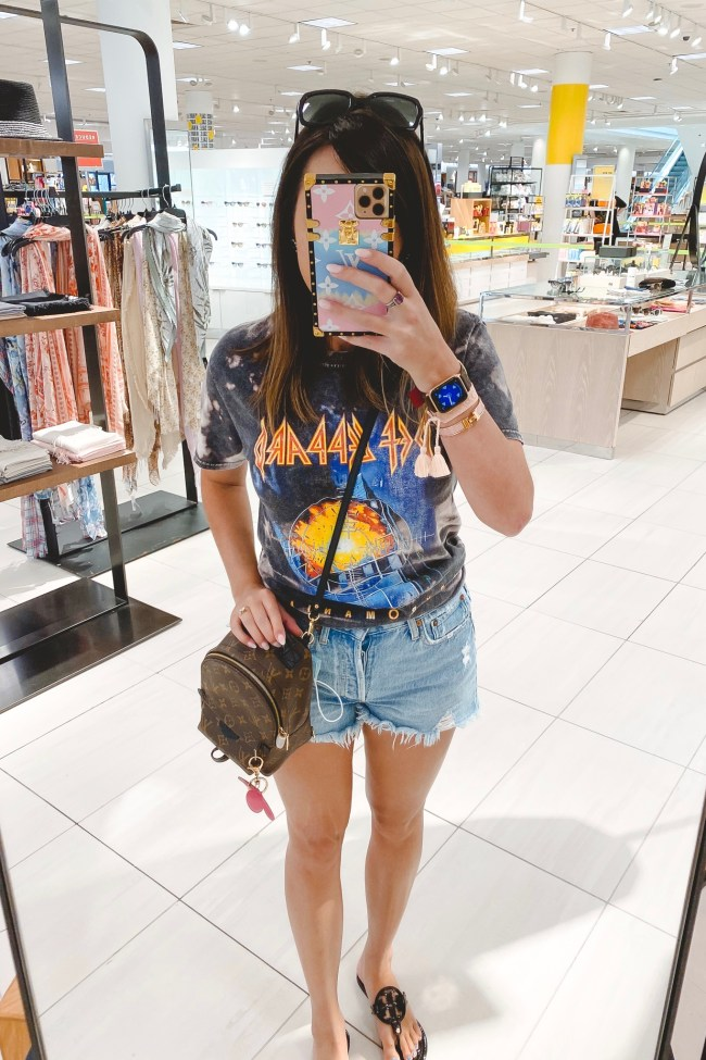 Wearing lately post 36 def leppard bleached tee with agolde denim shorts and louis vuitton palm springs mini