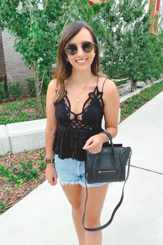 free people black adella cami with celine nano and agolde shorts