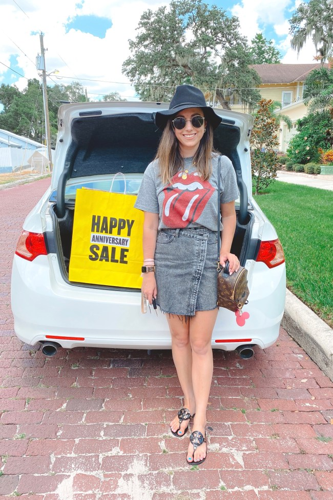rolling stones tee with free people parker skirt and brixton hat
