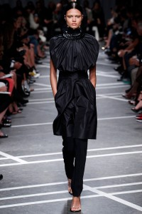 Black Silk Cinched Dress over Black Pants. Givenchy / Spring 2013 RTW