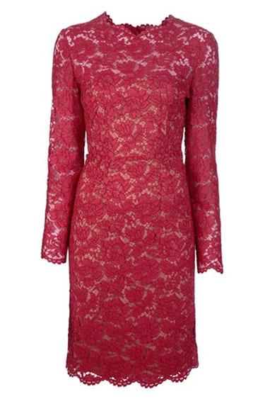 Valentino Red Lace Dress. www.HarpersBazaar.com