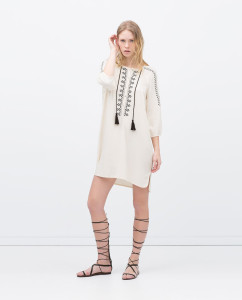 Long tunic. Loose cut. Ethnic embroidery. Drawstring detail. Available at Zara $59.90
