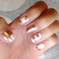 Manicure Monday: White + Metallic Rose Gold
