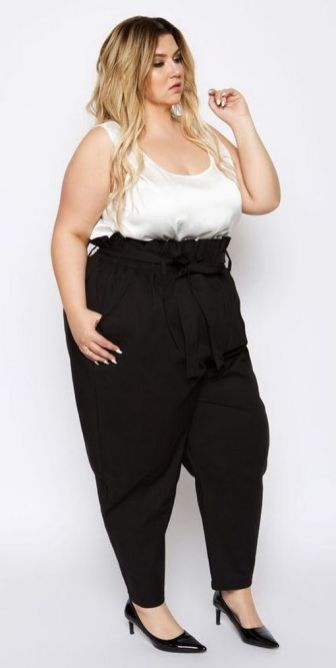 30 Fashion plus size outfit with black pants 16