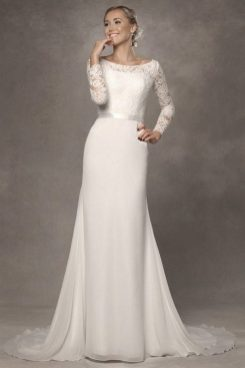 27 Simple White Long Sleeve Wedding Dresses ideas 13