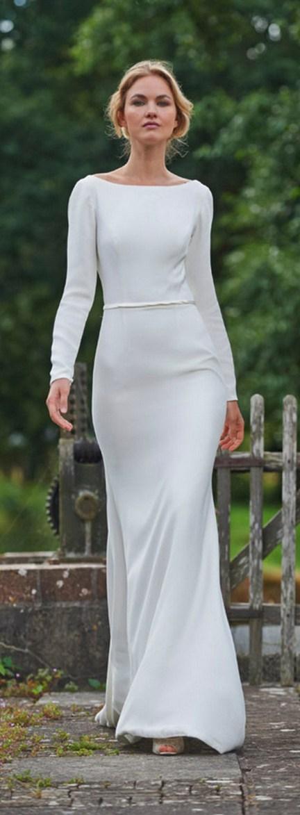 27 Simple White Long Sleeve Wedding Dresses ideas 5