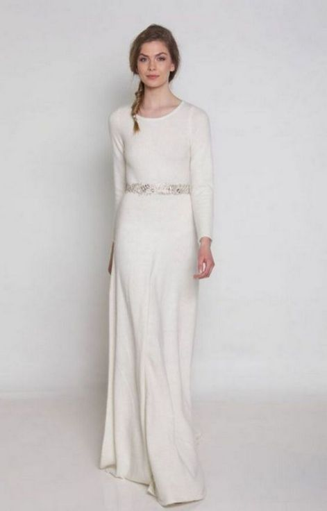 27 Simple White Long Sleeve Wedding Dresses ideas 7