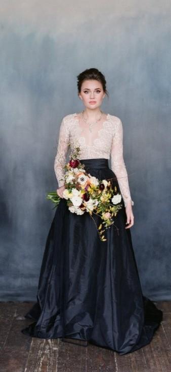 30 Black Long Sleeve Wedding Dresses ideas 10
