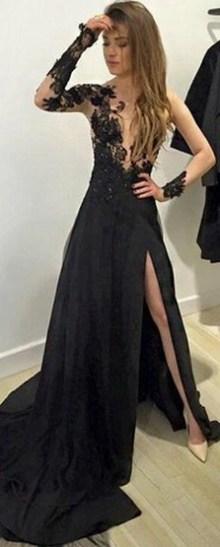 30 Black Long Sleeve Wedding Dresses ideas 11 1