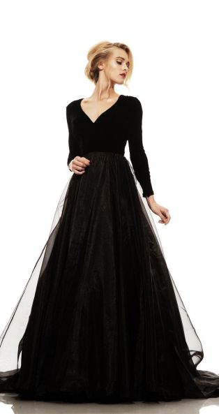 30 Black Long Sleeve Wedding Dresses ideas 11