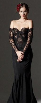 30 Black Long Sleeve Wedding Dresses ideas 19