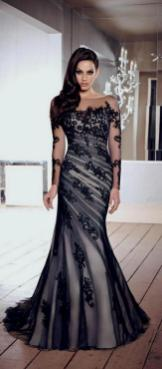 30 Black Long Sleeve Wedding Dresses ideas 20