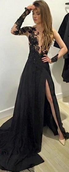30 Black Long Sleeve Wedding Dresses ideas 22