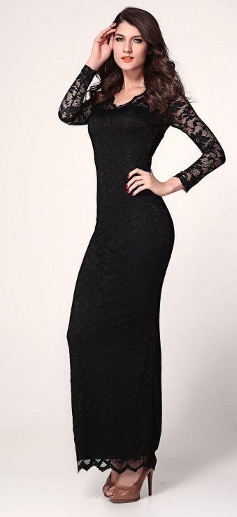 30 Black Long Sleeve Wedding Dresses ideas 30