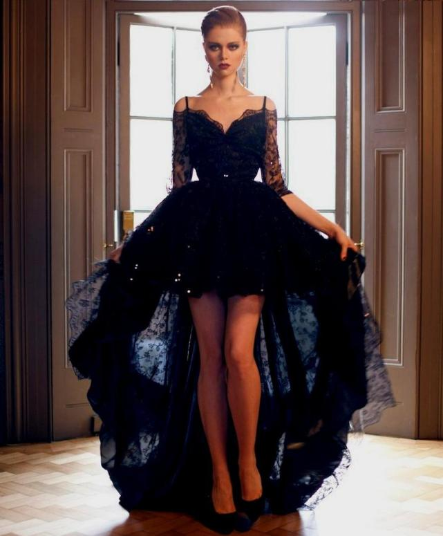 30 Black Long Sleeve Wedding Dresses ideas 31