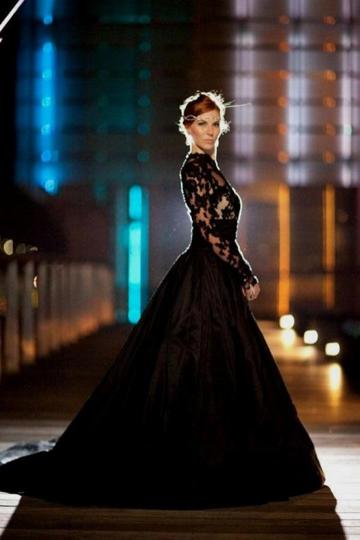 30 Black Long Sleeve Wedding Dresses ideas 6