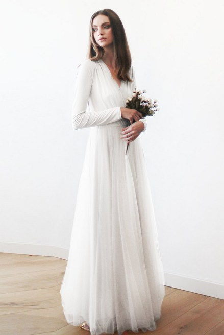 40 High Low Long Sleeve Modern Wedding Dresses Ideass 6