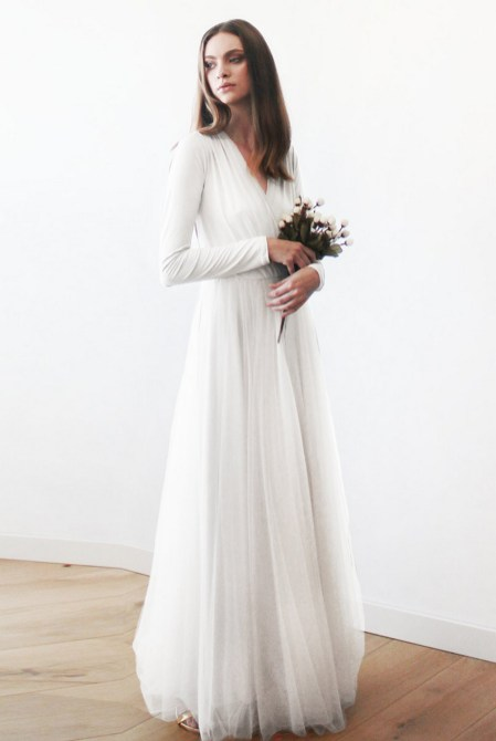 40 High Low Long Sleeve Modern Wedding Dresses Ideass 6