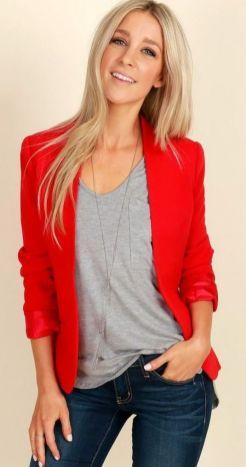 40 Womens red blazer jackets ideas 4
