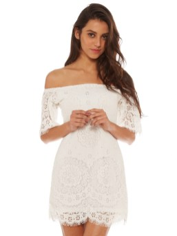 Classy evening shoulder lace dress for all special events 11