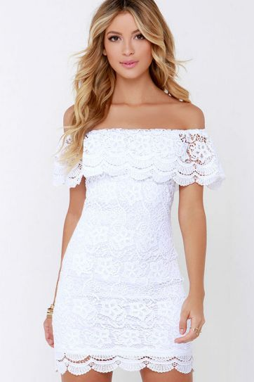 Classy evening shoulder lace dress for all special events 15