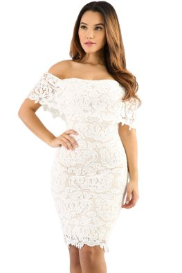 Classy evening shoulder lace dress for all special events 27