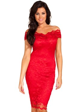 Classy evening shoulder lace dress for all special events 44