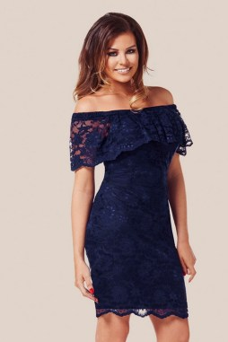 Classy evening shoulder lace dress for all special events 5