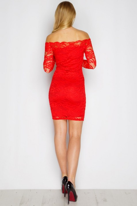 Classy evening shoulder lace dress for all special events 58