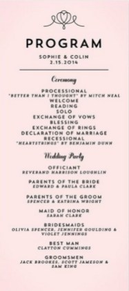 Simple Wedding Reception Program Sample Ideas 10