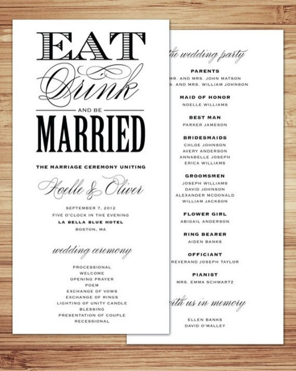 Simple Wedding Reception Program Sample Ideas 30