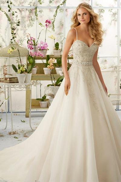 Spaghetti Strap Wedding Day Dresses Gowns ideas 13
