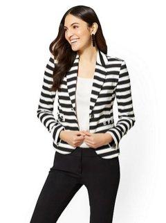 black and white striped blazer womens 11