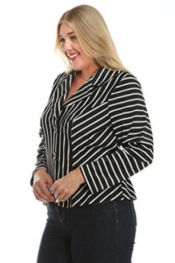 black and white striped blazer womens 14