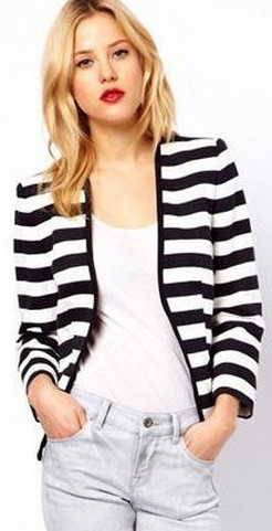 black and white striped blazer womens 23
