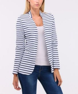 black and white striped blazer womens 26