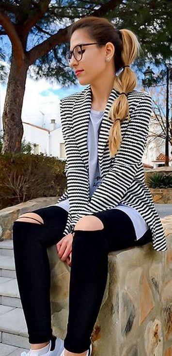 black and white striped blazer womens 27