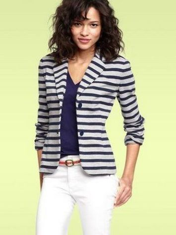 black and white striped blazer womens 29