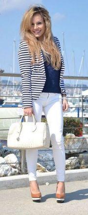 black and white striped blazer womens 33