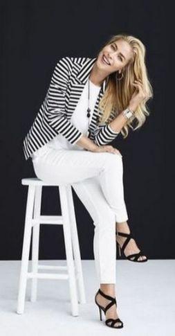 black and white striped blazer womens 36