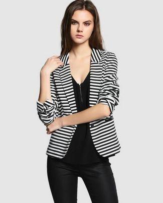 black and white striped blazer womens 38