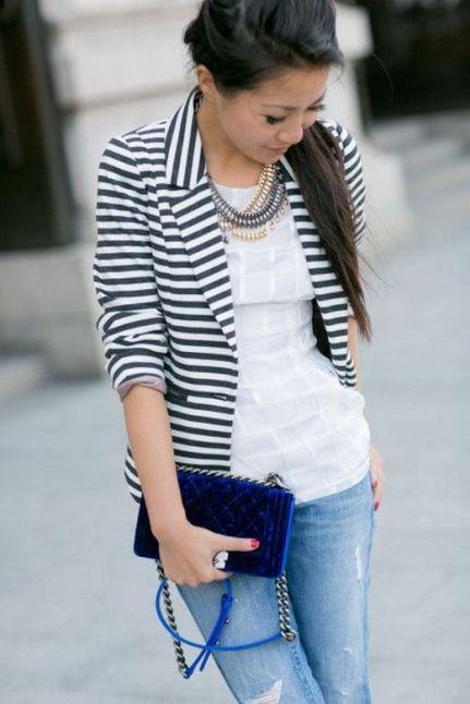 black and white striped blazer womens 39
