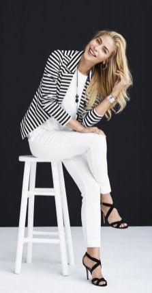 black and white striped blazer womens 4